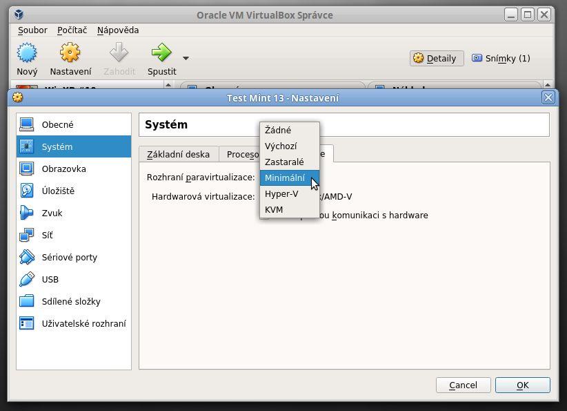 Nastavení paravirtualizace ve VirtualBoxu